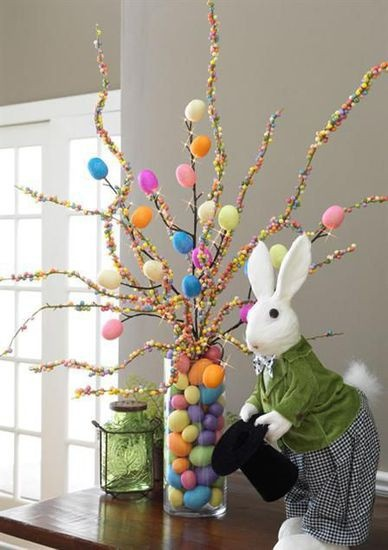 Easter Tree #easter, #rabbits, #trees, #vases, #DIY, #pinsville