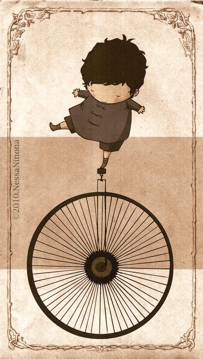 dibujo niño y monociclo
