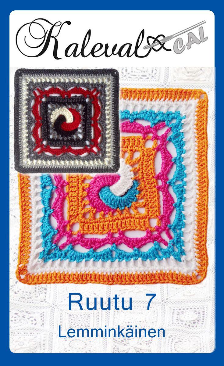Kalevala CAL-yhteisvirkkausprojekti, ruutu 7. Design Mirva Nikkinen. Virkattu peitto. #crochetsquare