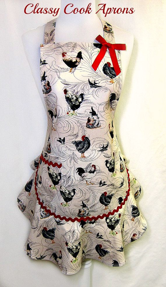 Apron Vintage ROOSTERS, Farmhouse COUNTRY CHIC, Pretty Party Hostess Kitchen Unique Gift, by  ClassyCookAprons, $38.50