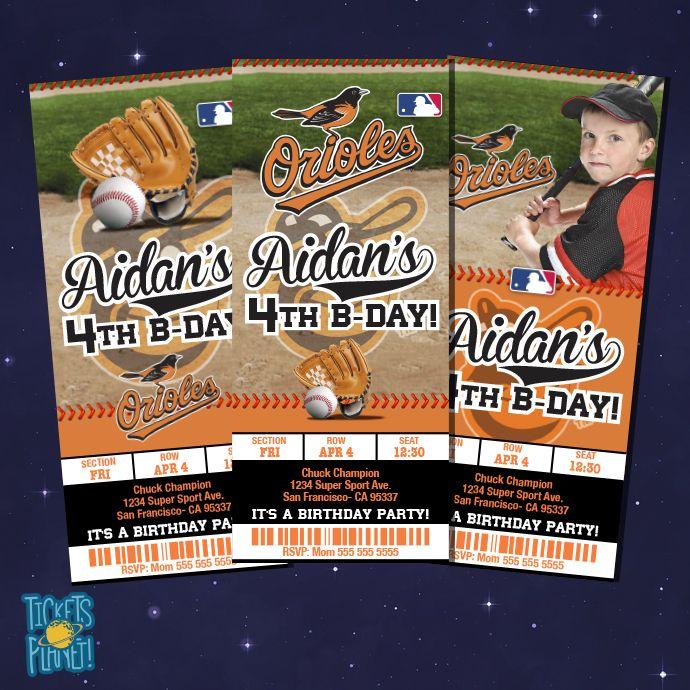 Baltimore Orioles Tickets Birthday - Baseball Birthay Invitation - Printable