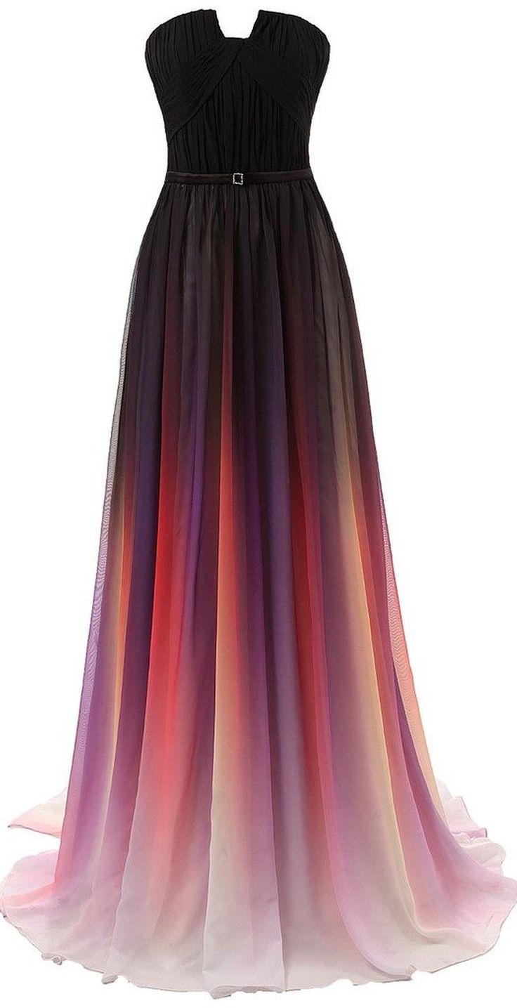 Gradient Prom Dress,Long Prom Dress,Strapless Prom Dress