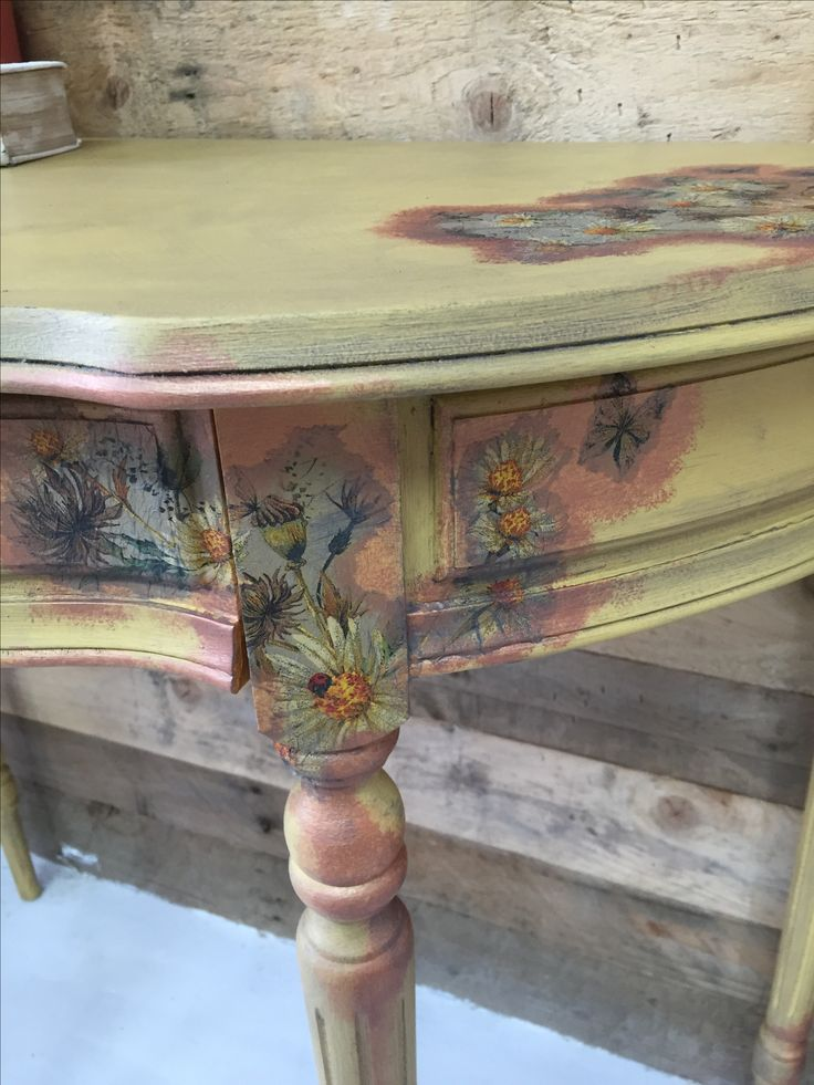 Shabby Chic Half Moon Table With Decoupage