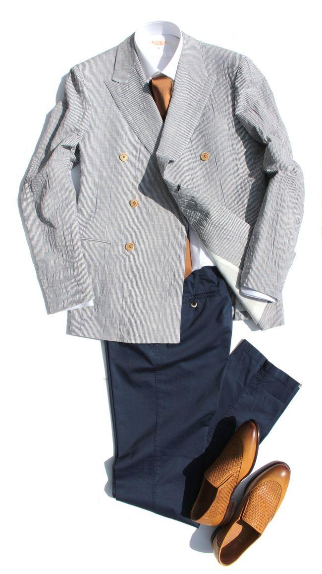 春夏向けアズーロ エ マローネ コーディネート SelectShop HIKO #mensfashion #fashion #coordination #shirts #ties #ZILLI #barrett #メンズファッション #シャツ #ジリー
