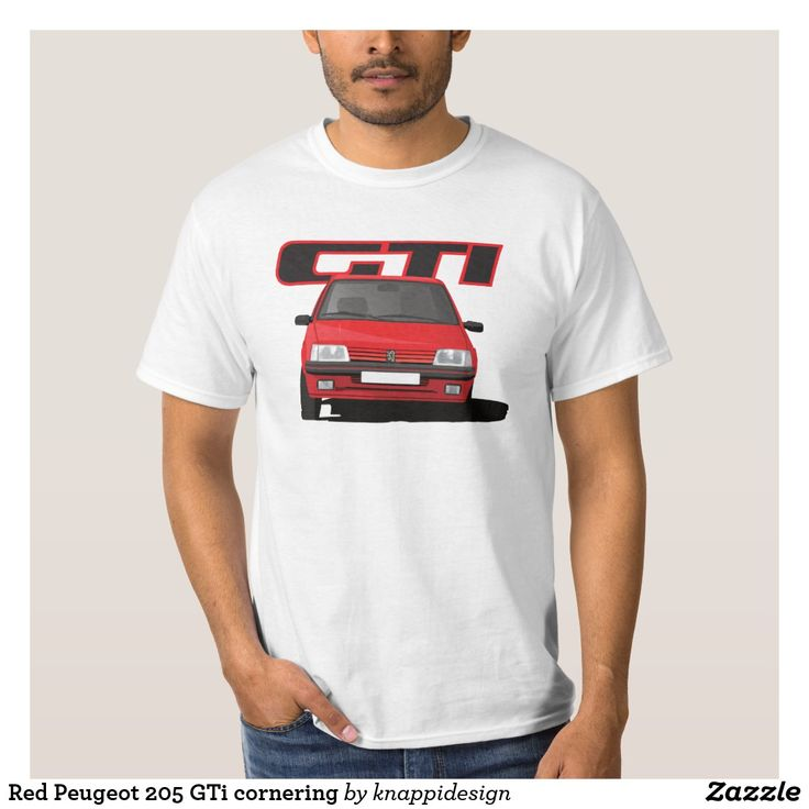 Red cornering Peugeot 205 GTi with a GTi badge.  #peugeot205 #peugeot #peugeot205gti #205gti #gti #frenchcars #automobiles #cars #automobile #car #cornering #classiccars #80s #80scars #hothatch #hothatches #sportcars #automobileillustration #illustration #badge