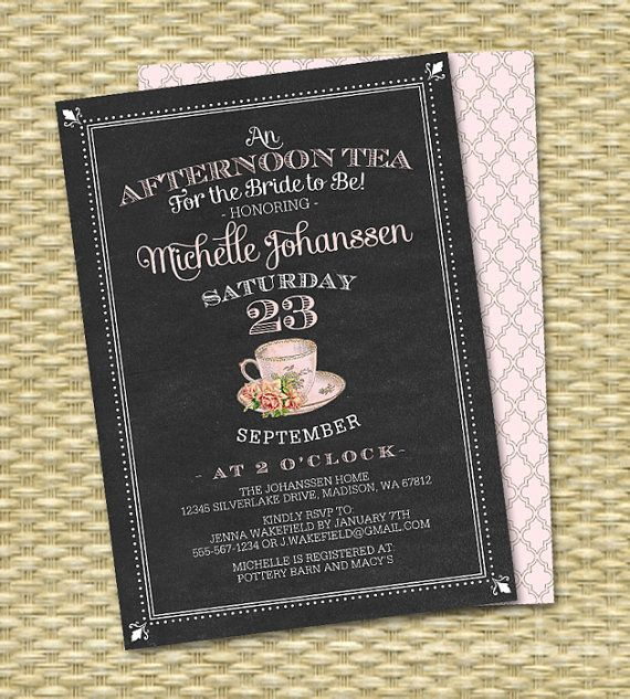 Hosting an afternoon tea for the bride-to-be? This chalkboard bridal tea invitation features a black chalkboard texture background with