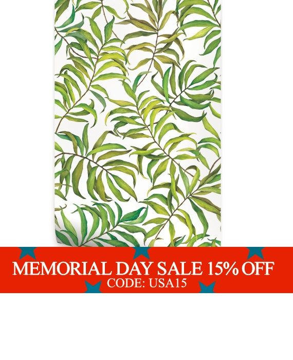 Tropical Leaves peel & stick fabric wallpaper. This re-positionable wallpaper is designed and made in our studios in New Jersey. The designs are printed onto an adhesive backed fabric that can be removed, repositioned and reused over and over again. They do not leave any residue on your walls and are ideal for DIY room makeovers without the mess and headaches of traditional wallpaper. !! Attention !! Please note, our wallpaper and print material has been upgraded as of 04/09/201...