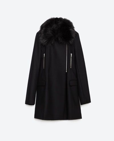 Image 8 of COAT WITH FAUX FUR COLLAR from Zara