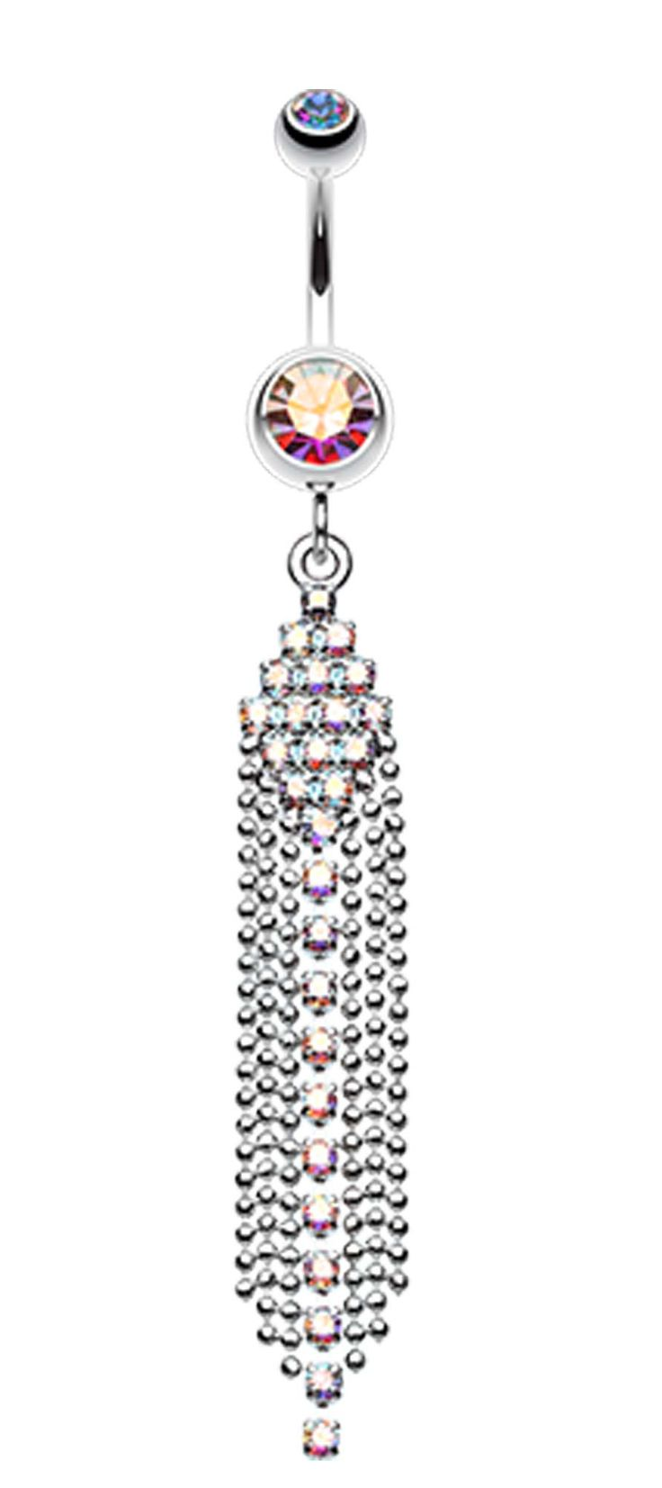 Sparkle Showers Belly Button Ring - 14 GA (1.6mm) - Light Pink - Sold Individually