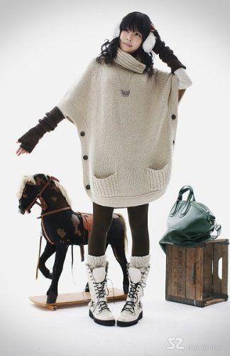 Amazon.co.jp: ニットポンチョ ニットワンピ チュニック タートルネック セーター アウター: 服&ファッション小物