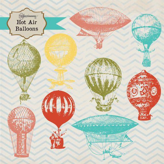 French Hot Air Balloon Illustrations digital by TanglesTreasures, $4.50