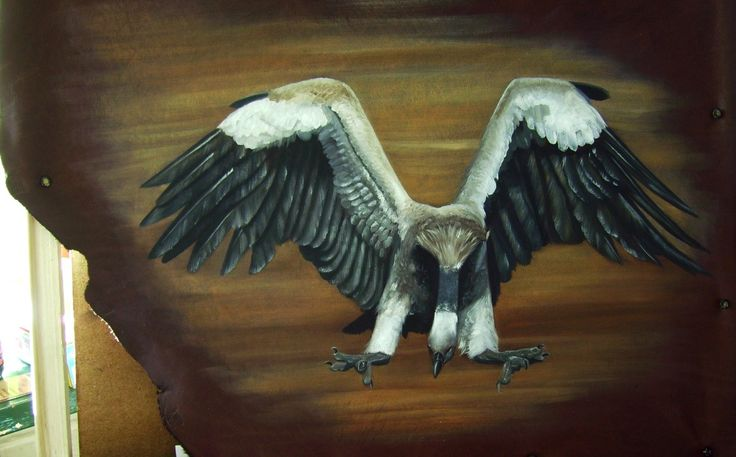 Vulture on leather Oils Commissioned SOLD