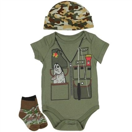 Let's Go Fishing Solid Green Fishing Onesie With Green and Brown Camo Hat And Socks From Nuby Baby Clothes      Sizes 0/3 Months 3/6 Months 6/9 Months     Made From 100% Cotton     Label Nuby