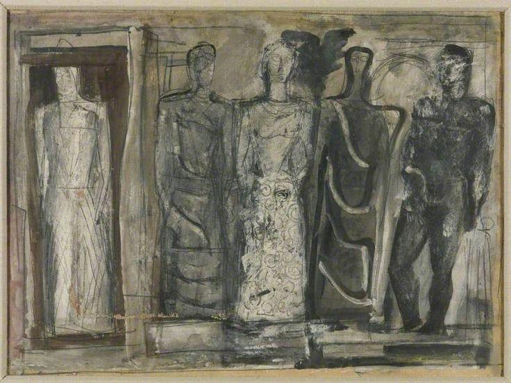 Five Figures (Cinque figure) c. 1936 by Mario Sironi (Italian 1885-1961)