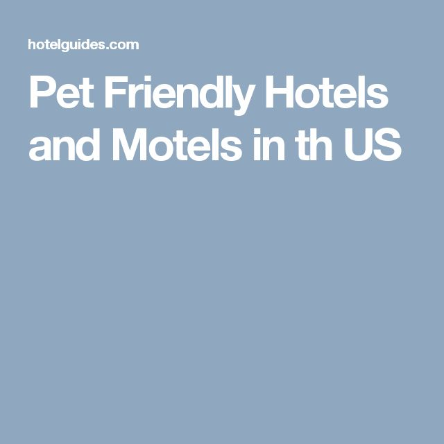 Pet Friendly Hotels and Motels in th US
