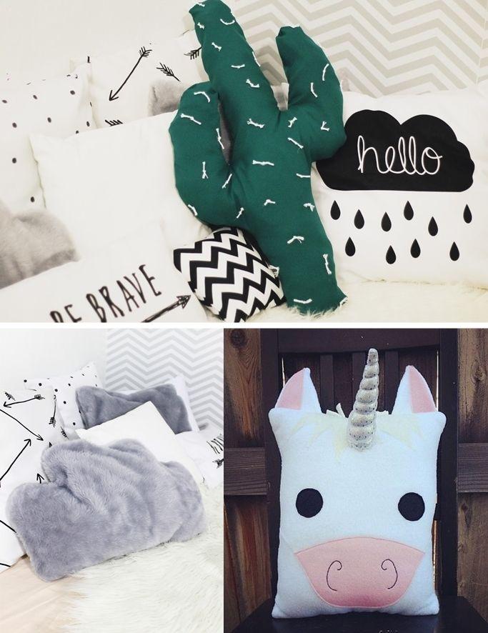 Faça você mesma algumas almofadas divertidas. Almofada de unicórnio, almofada de cacto e almofada de nuvem.