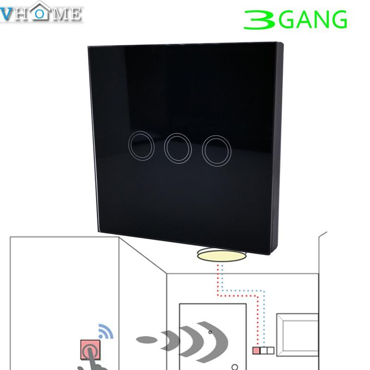 Vhome Wireless RF 433MHZ launcher Black Switch shape Touch Remote Control for Touch Light Switch,garage door,electric curtains