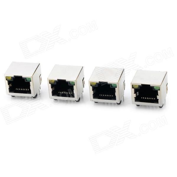 RJ45 Shield Network Sockets w/ Indicator - Silver   Black (4 PCS)
