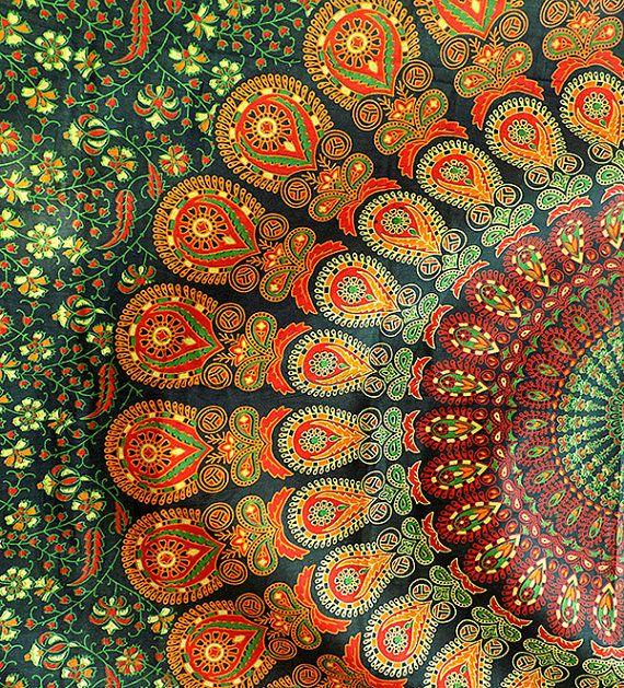 GRÜN Mandala Baumwolle gedruckt Gewebe Throw Wandbehang Hippie Wand hängenden Böhmische Boho Bettwäsche Tagesdecke ethnische Home Decor Art