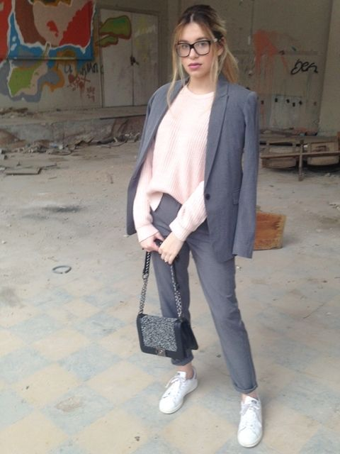 Pastels and Greys #fashion #outfit #outfits #beauty #bloggers #priestessofstyle #style #fashionpost #fashionblogger #priestess #priestess #greece #greek #blondehair #girl #sneakers #jacket #coat #trousers #pants #jumpers #bag #eyewear #glasses #sunglasses