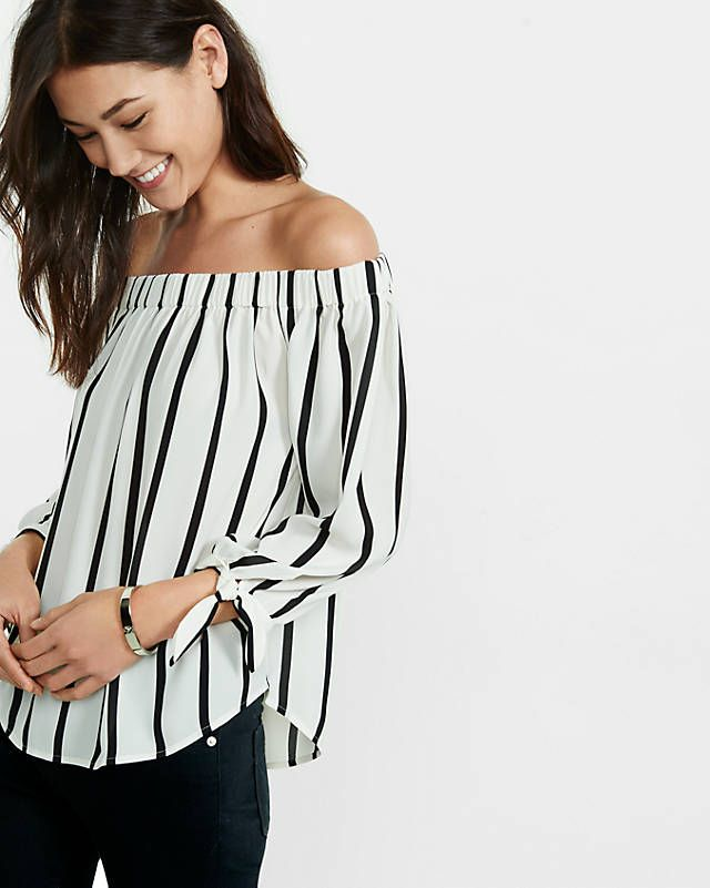 ff9f7b9d45 Striped Off The Shoulder Tie Sleeve Blouse