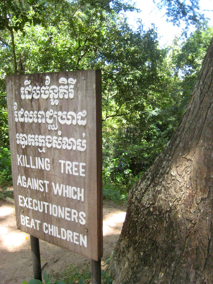 Khmer Rouge killing field near Phnom Penh, Cambodia. This is the reality behind the smiles of the Cambodian people.