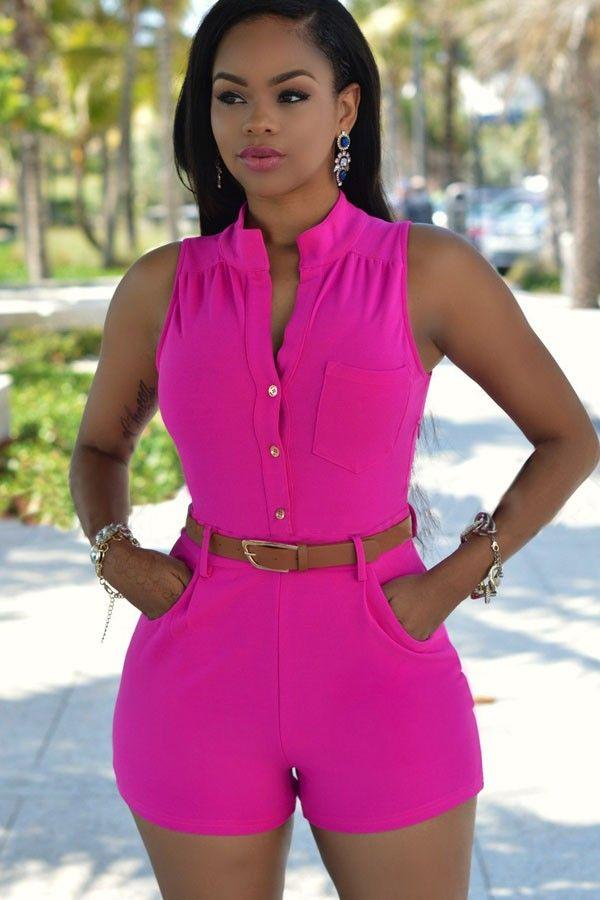 Women V Neck Bandage Button Pockets Backless Sleeveless Playsuit Shorts Jumpsuit