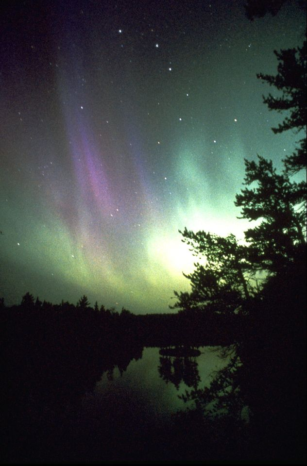 Northern lights dance in the sky of the Boundary waters Canoe Area
