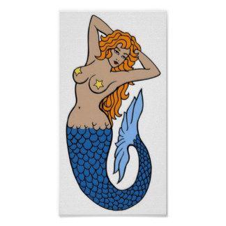 Art vintage de tatouage de sirène affiche