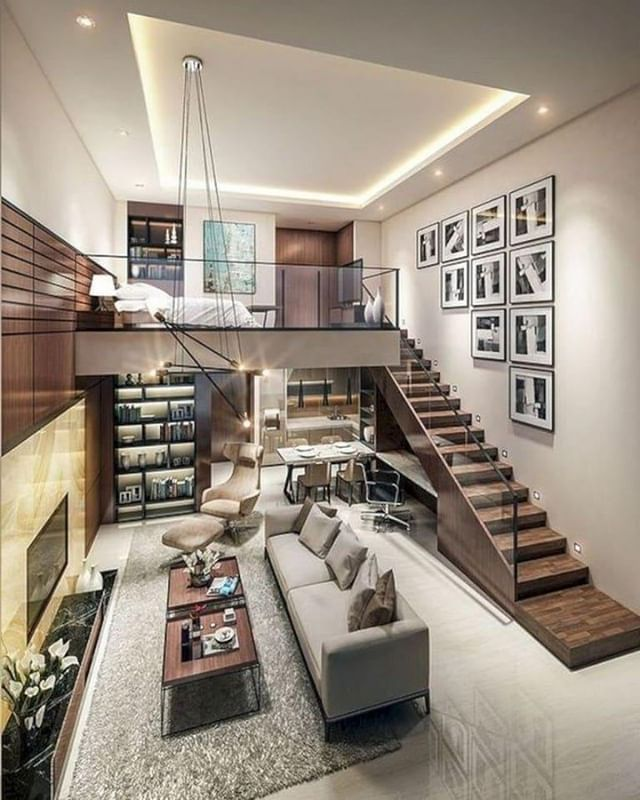 There S So Much Dimension And Style You Can Incorporate Into A Narrow Space A Wall Gallery With Jus Small House Interior Loft House Design Modern House Design