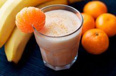 Tangerine Smoothie Recipe Beverages with mandarin oranges, frozen banana, milk, yoghurt, honey, vanilla