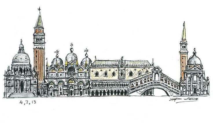 Venice montage - drawings and paintings by Stephen Wiltshire MBE