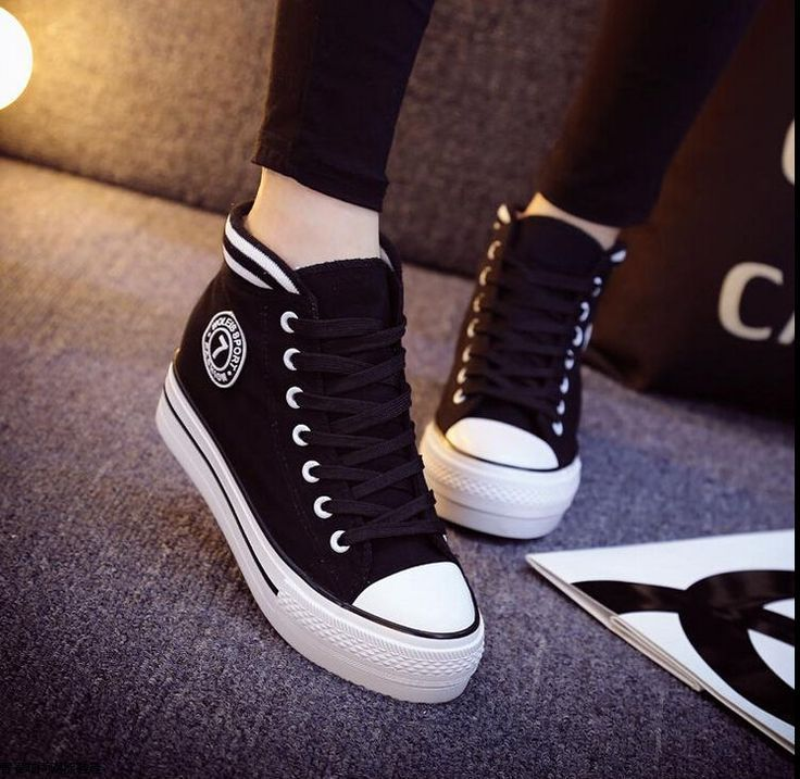 2015 neue koreanische Frauen High-Top Lace-up-Plattform Casual Canvas Sneakers Schuhe