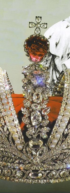 Imperial Crown of Russia created for the coronation of Catherine the Great, Russian Crown Jewels (close up)