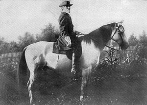Traveller.  He was born in 1857 and lived until 1871.  Here is a picture of the Gen. Robert E Lee with Traveller!