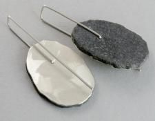QUOIL Gallery, New Zealand - Sandra Schmid - Greywacke earrings - stone laminated with sterling silver