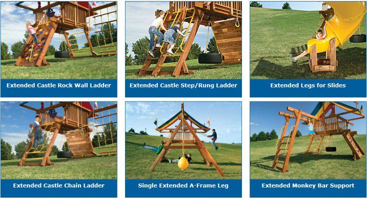 Rainbow Play Systems - Unlevel Backyard Install of Swing ... on Unlevel Backyard Ideas id=36318