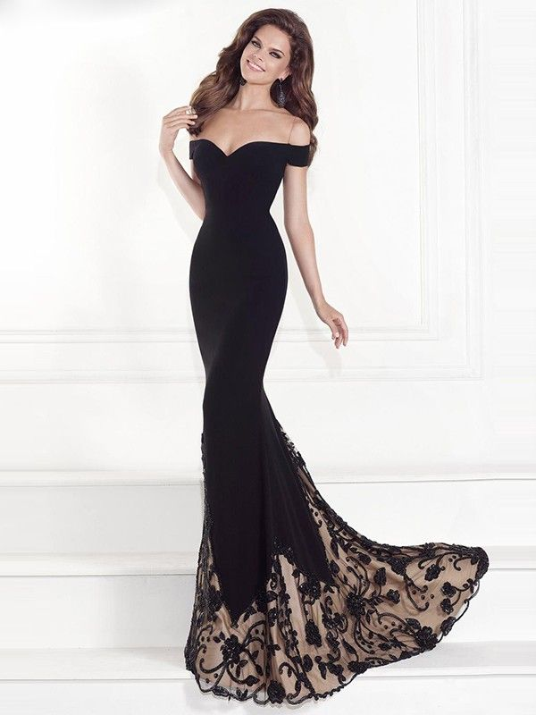 Trumpet/Mermaid Sleeveless Off-the-Shoulder Chiffon Sweep/Brush Train Beading Dresses