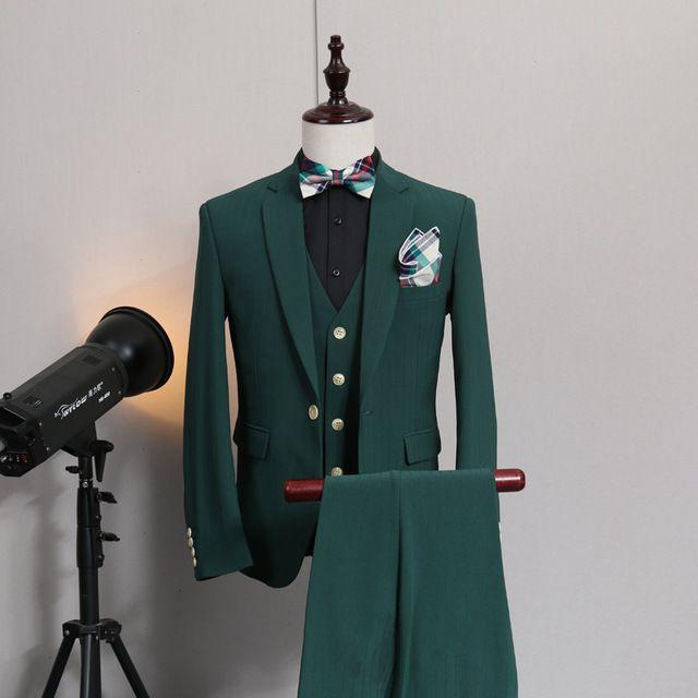 (ジャケット+ベスト+パンツ)ファッションメンズスリムグリーンスーツは新郎と結婚フォーマルドレス男性夏カジュアルスリムスーツ