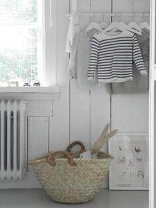 Blue and white baby room