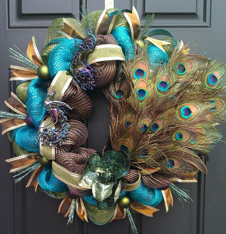 Peacock Mardi Gras turquoise brown and green by BetsyLuWreaths, $85.00