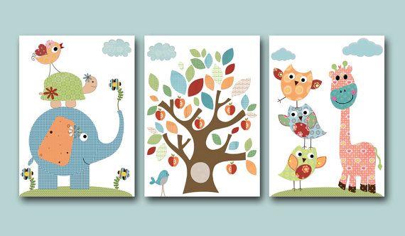 "Childrens art Kids Wall Art Baby Room Decor Baby Boy Nursery print set of 3 11"" x 14"" elephant turtle owl decor birds blue giraffe"