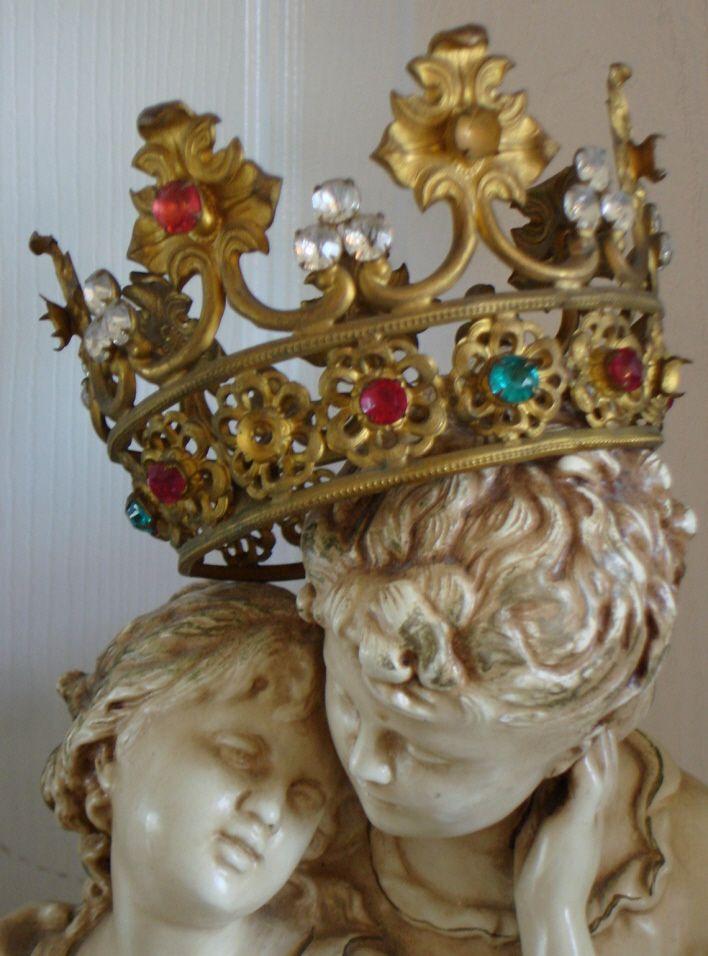 LATE 1800s Rare Pink & Aqua Stones French Crown ANTIQUE   eBay