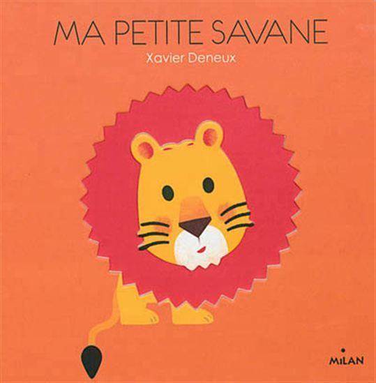 Un album tactile, en volume et en creux, présentant les animaux de la savane : lion, hippopotame, éléphant, girafe, etc.