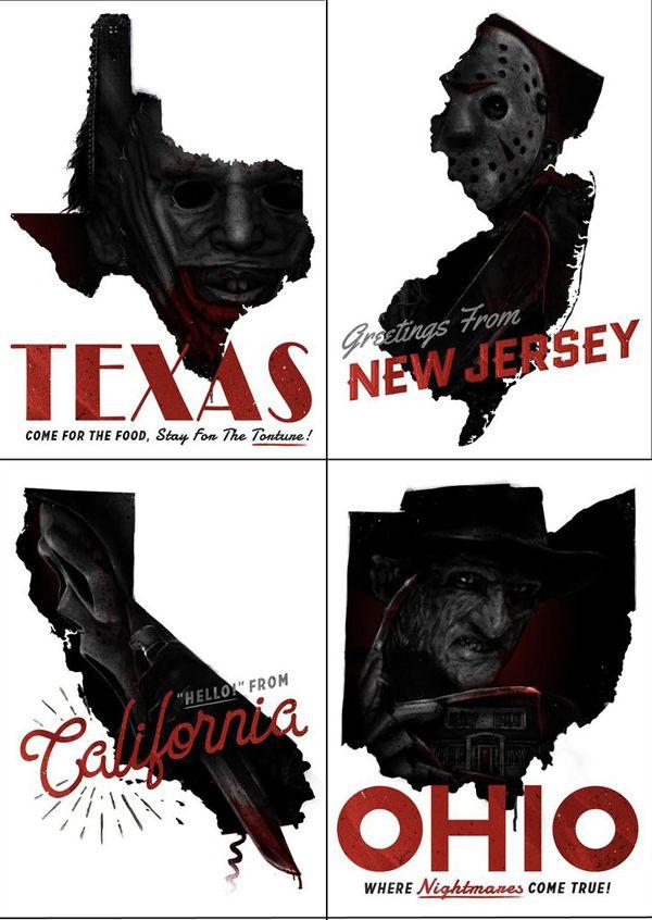 United States of Horror Postcard Set