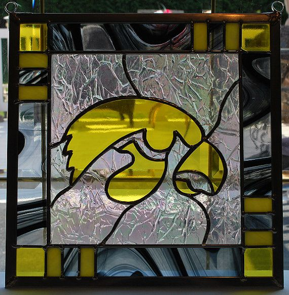 Stained glass iowa hawkeye panel black border suncatcher for Iowa hawkeye decor