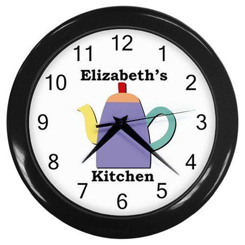 Personalized+Purple+Teapot+Kitchen+Wall+Clock