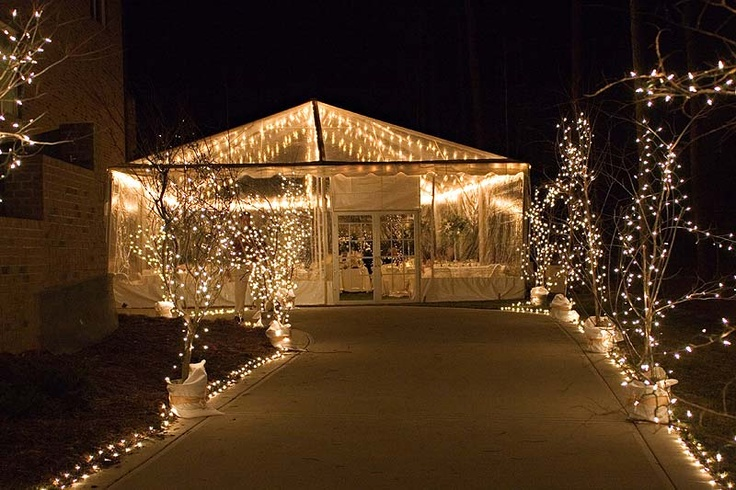 Using sting lights to light pathways  Wedding Tent Lighting Ideas  Diy wedding lighting