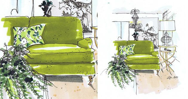 rendering by interior designer Michelle Morelan, celery green, #chartreuse, decor, decorate, emerald green, forest green, grass, #green, home, illustration, interiors, interior design, jade, kelly green, lime green, #mint green, sofa, watercolor
