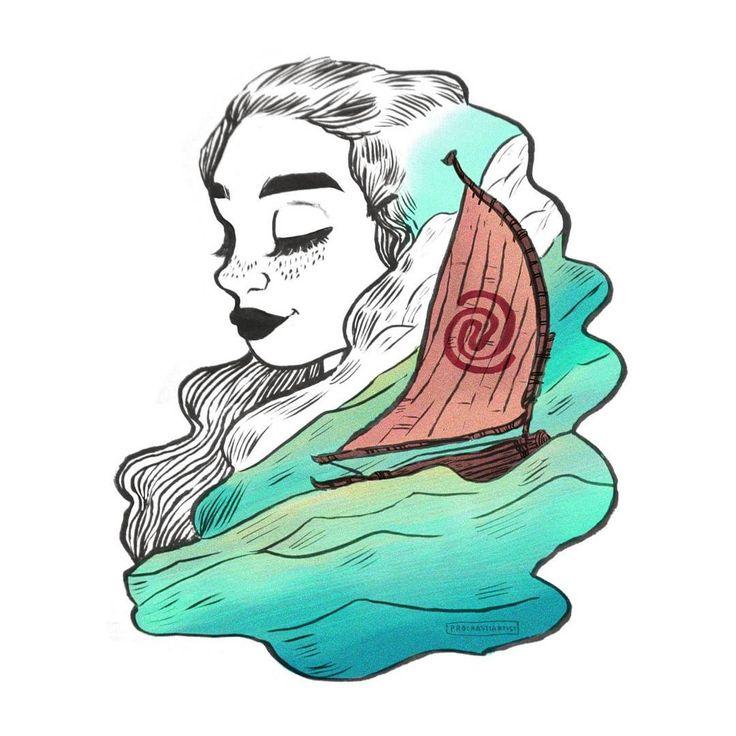 "994 Gostos, 21 Comentários - m i c h e l l e (@procrastiartist) no Instagram: ""The ocean is calling  Happy Moana Monday ! ••• #illustration #art #drawing #doodle #disney…"""
